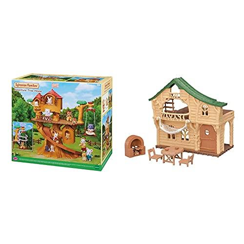 SYLVANIAN FAMILIES Casa De Aventuras En El Árbol Doll House (Epoch para Imaginar 05494) + Cabaña del Lago, Color Beige Y Verde (05451)