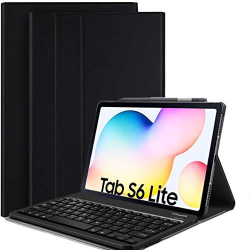 Lachesis Custodia per Tastiera Galaxy Tab S6 Lite, Custodia in Pelle con Tastiera Bluetooth Magnetica Staccabile Layout Italiano per Samsung Tab S6 Lite da 10,4 Pollici (SM-P610   P615,2020) (Nero)