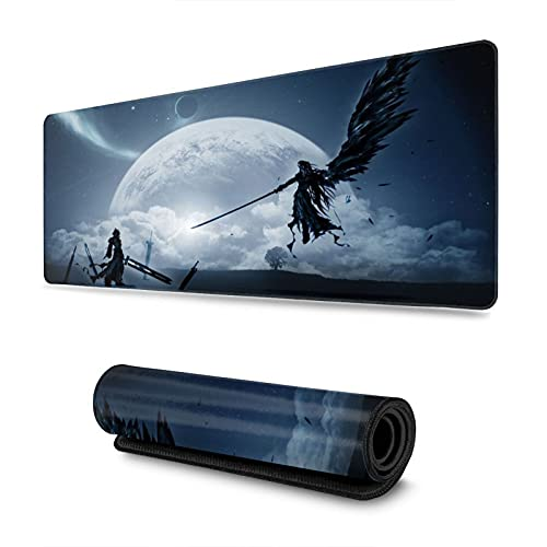 Final Fantasy Anime Mouse Pad 11.8x31.5 Inch Large Non-Slip Gaming Mouse Pad Rubber Stitched Edges Desk Mat for Office Home & Gamer