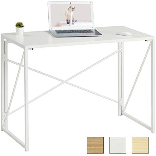 MSmask Schreibtisch Klapptisch Computertisch tragbar Konferenztisch Esstisch stabil platzsparend Laptop Tisch Hölzerner Tisch plattenmetallrahmen für Zuhause, Büro, Garten (Weiß + Weiß Holzmaserung)