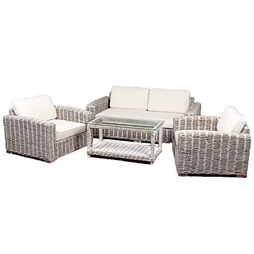 Tipo de residencia de 4 piezas Living White Wash - Conjunto de muebles de jardín (ratán sintético), color gris