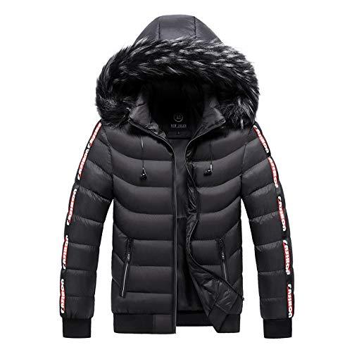 Winterjacke Herren Plus Size 4XL 5XL Dicker Warmer Parka Pelz Kapuze Smart Casual Jacke Mantel Taschen Windbreaker Outwear XXXL Schwarz