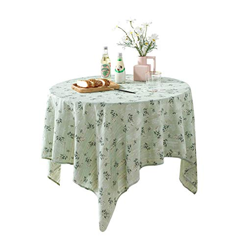 ALEOHALTER Table Cloth, Modern Floral Embroidery Tablecloth Non-Slip Cotton Blend Round Oblong Tablecloth Washable Table Cover for Kitchen Dinning Home