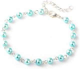 Idin Jewellery – Cavigliera in vetro turchese chiaro con perle (circa 23 cm)