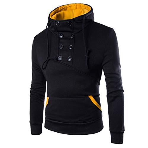Xmiral Hoodie Sweatshirt Herren Einfarbig Patchwork Rollkragen Kapuzenpullover mit Tasche Herbst Outdoor Tops Pullover Oberbekleidung(Schwarz,XXL)