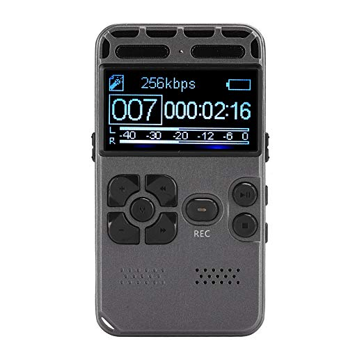 Archuu Digital Voice Recorder, 64GB 800Mah Voice Recorder MP3 Player Zinc Alloy HD Audio Recorder with Earphone AGC Noise Reduction for Meetings/Interviews/Lectures/Class