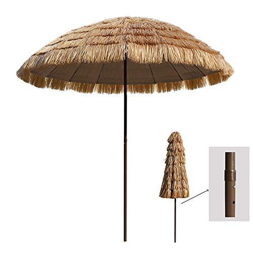 Parasol De Jardin, en Chaume TiKi, Hauteur Réglable/Couleur Naturelle, Style Hawaïen, pour Balcon/Terrasse/Soleil De Plage/Patio (8,2 Pieds)
