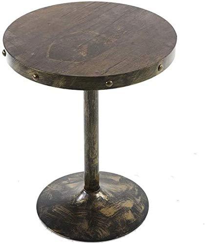 H-CAR Tavolino, tavolino, tavolino da caffè, tavolino da Divano, tavolino da caffè Rotondo Vintage Creativo Bar in Ferro battuto tavolino Decorato (Colore: E)