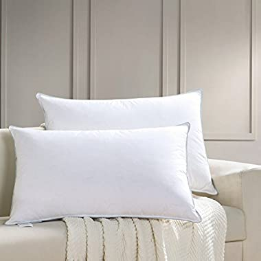AIKOFUL Goose Down and Feather Bed Pillows for Sleeping,King Size Pillow (set of 2,Soft) Hypoallergenic White Goose Down and Feather with Fashionable Piping by