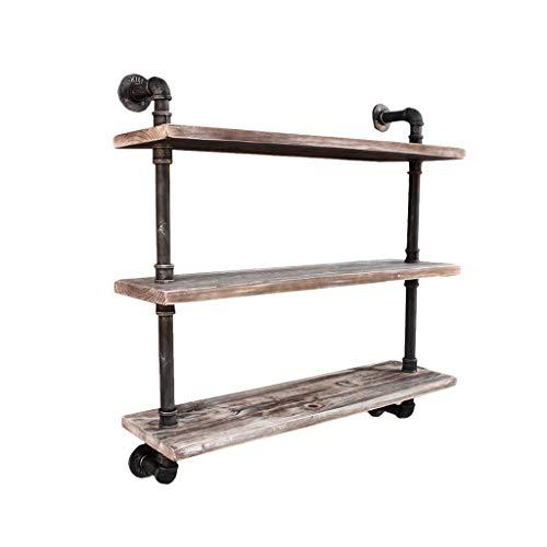 Industrielles Pfeifenregal mit Wandregal, rustikale schwebende Holzregale Regale