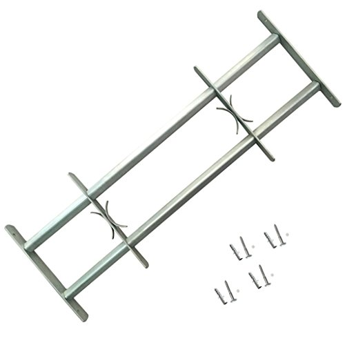 Festnight Einstellbares Fenstergitter Stahlgitter Fenster Gitter Sicherheitsgitter mit 2 Querbalken für Fenster von 500-650 mm Breite