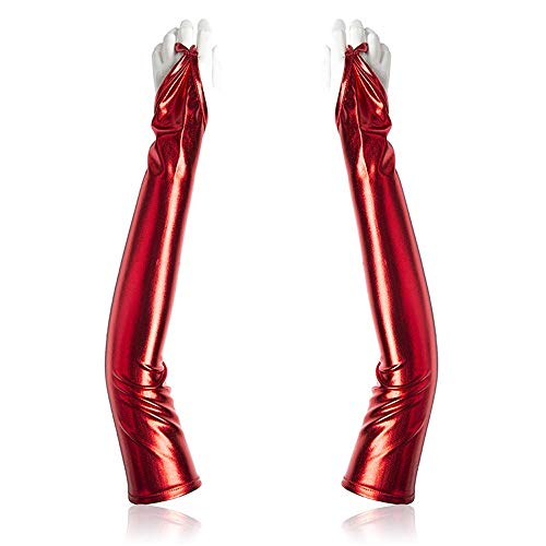 W.Z.H.H.H Erotisches Zubehör Sexy Erwachsene Handschuhe Lackleder beschichtet Langarm Handschuhe Reine Farbe Sex spaß flirten Rollenspiel Spielzeug (Color : Rot, Size : One Size)