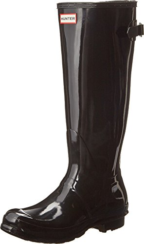 HUNTER Damen Original Back Adjustable Gloss Tall Gummistiefel, Schwarz (Black), 38 EU