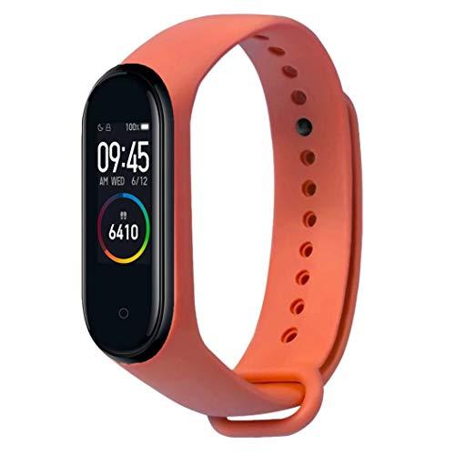Xiaomi Mi Band 4 Smart Band AMOLED Touchscreen Activity Tracker, Armband: Silikon Orange, inkl. Wechselarmband: Schwarz - Silikon