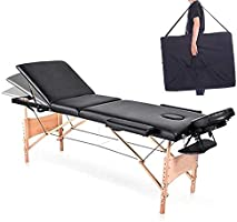 COOLBABY Portable Massage Table Professional Adjustable Folding Bed with 3-part Wooden Frame Ergonomic Headrest and Tote...