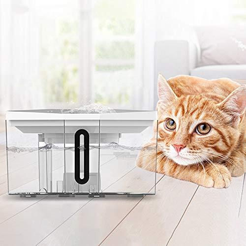 Transparante waterdispenser, intelligente waterdispenser voor honden en katten, automatische cyclus voor dranken, grote capaciteit, 2,5 l, drielaags filter met dubbele waterstraal.