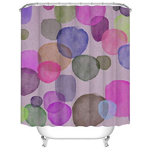 Violetter abstrakter Duschvorhang mit bunten Kreisförmigen Punkten, Badvorhang, grün-fuchsienfarben, Badezimmerdekoration mit Haken, 183 x 183 cm, einfaches Aquarellmuster