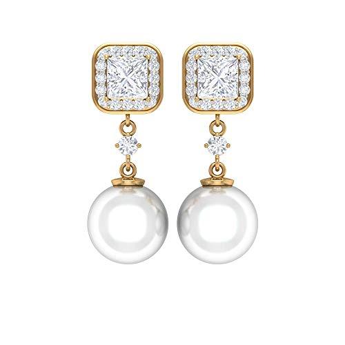 Aretes de diamante solitario con halo, 8 quilates 8 mm, pendientes de perlas de agua dulce, HI-SI 1 CT, diamante de corte princesa, pendientes de perlas, pendientes de novia 14K Oro amarillo, Par
