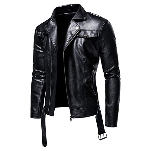 Mr.BaoLong&Miss.GO Autumn and Winter Mens Large Size Leather Jacket Mens Lapel Motorcycle Leather Mens European Size Casual Leather Jacket Jacket Black