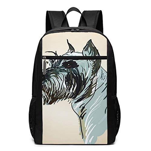 School Backpack Fun Head Dog Breed, College Book Bag Business Travel Daypack Casual Rucksack for Men Women Teenagers Girl Boy