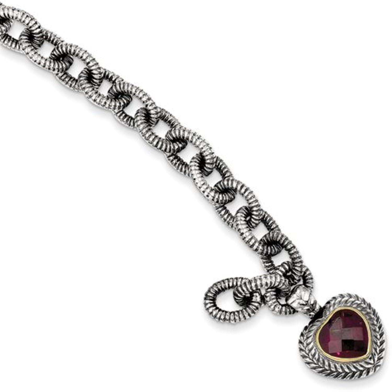 Sterling Silver W 14k gold 5.71Rhodilite Garnet Heart Bracelet Link-bracelets