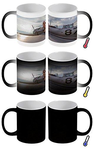 Zaubertasse Farbwechseltasse Kaffeebecher Tasse Becher Latte Cappuccino Espresso Flugzeug Flughafen Sexy Frau Kampfflugzeug