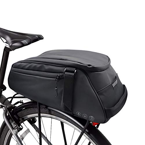 DeepRoar Bike Trunk Bag Waterproof and Large Capacity Rack Bag with Reflective Tape, Velcro Design Commuter Bag, Fits for Road and Mountain Bike (Black)