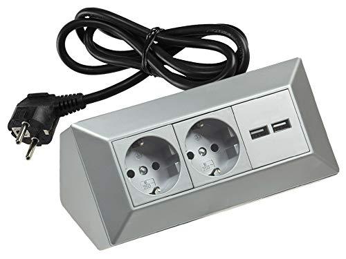 Steckdosenblock Ecksteckdose 2-fach + 2 USB mit 1,5m Kabel Vormontiert I 45° Winkel 230V Wand Aufbau & Eck-Montage für Arbeitsplatte Küche Werkstatt I Silber
