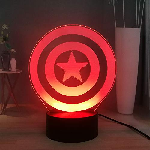 Captain America Shield 3D Illusion Night Light, Marvel Superhero LED Night Light for Kids, 7 Colors Desk Lamp, USB Remote Control Bedroom Night Lamp, Children Xmas Present (Shield 6.696.49 inches)