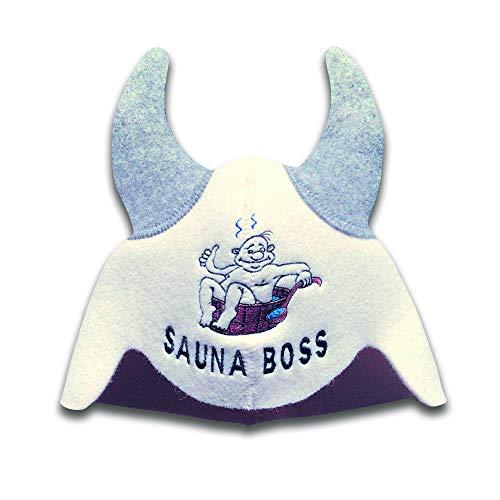 Natural Textile Saunahut 'Sauna Boss Devil' White - 100% organische Wollfilzmützen - Schützen Sie Ihren Kopf vor Hitze - Englische Sauna E-Book Handbuch inklusiv - mit Stickerei