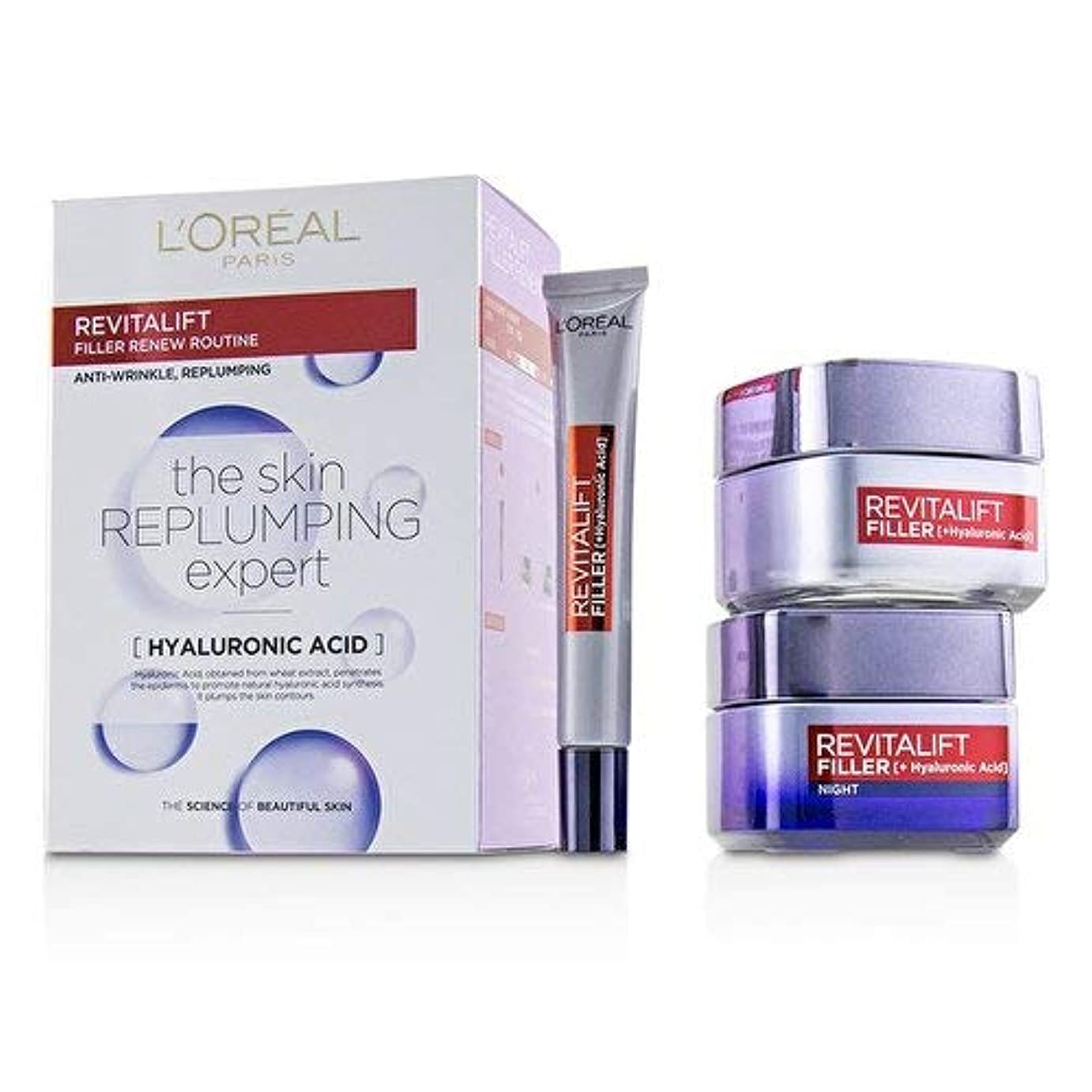 ちょうつがい卑しい慢なロレアル Revitalift Filler Renew Routine Set: Day Cream 50ml/1.7oz + Night Cream 50ml/1.7oz + Eye Cream 15 ml/0.5oz 3pcs並行輸入品