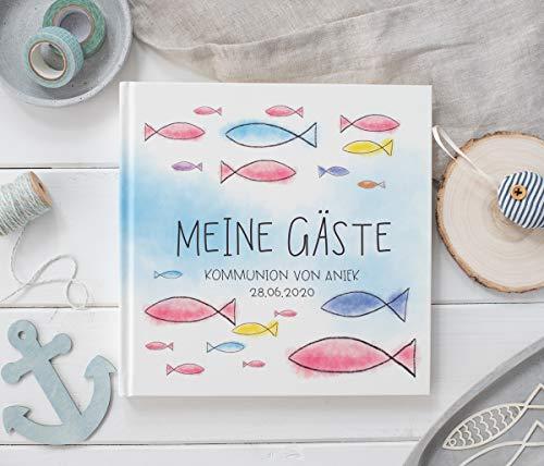 Gästebuch Taufe Konfirmation, Kommunion, Firmung Personalisiert - Eintragalbum - Erinnerungsalbum für Patenkind