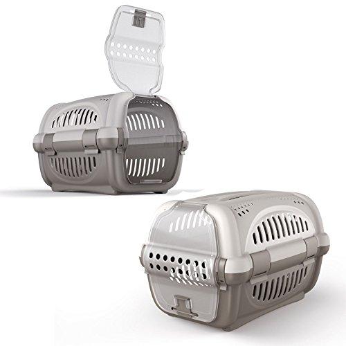 Large Grey Cat Carrier Kitten Portable Pet Transporter Cage Box Vet