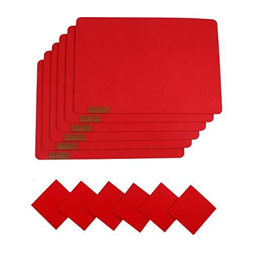 U'Artlines 6er Set Filz Platzsets und Untersetzer Hitzebeständigen Tischsets 30 * 43cm Dicke 5mm(6Platzsets&Untersetzer,Rot)