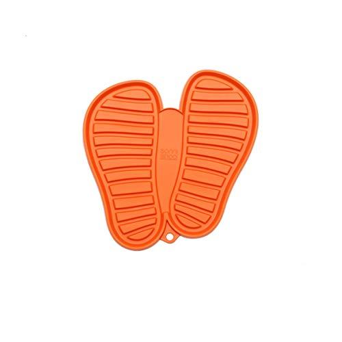 Sanni Shoo, Shoo.pad, Flexible, waschmaschinen-Feste Schuh-Abtropf-Matte, Schuhablage, Schuhabtropfschale, Abtropf- und Schmutzfang-Matte für Schuhe M (bis Schuhgrösse 41), orange