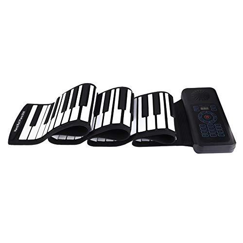 Roll Up Klavier Keyboards, Faltbar Rollpiano Tragbare Flexible 88 Tasten Elektronische Tastatur Handaufrollen Klavier MIDI Tastatur Eingebaute Li-on-Batterie (1100 mAh) für Kinder/Erwachsene