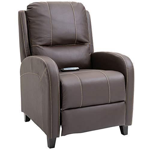 HOMCOM Massagesessel Fernsehsessel Relaxsessel Heizfunktion Fußstütze 90-165° PU Braun 70 x 93 x 100 cm