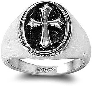 JewelryVolt Stainless Steel Ring Cross Signet