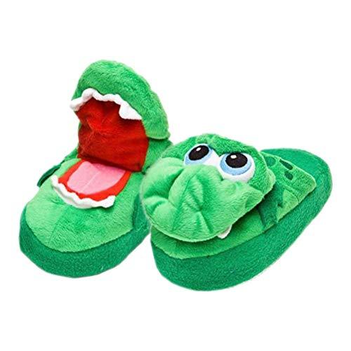 Congci Zapatos de cocodrilo, 1 par de Pantuflas de cocodrilo de Interior cálidas para el Invierno Zapatos Unisex de cocodrilo con la Boca Abierta Pantuflas de Alfombra con Forma de Animal