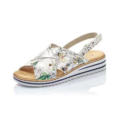 Rieker Mujer Sandalias de Vestir V06B4, señora Sandalias de cuña,Zapatos del Verano,cómodo,Plana,Ice-Multi,37...