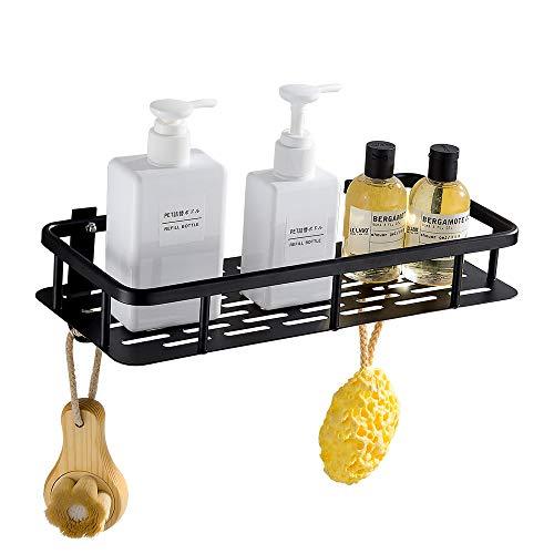 GERUIKE Estante Ducha Cesta de Ducha Estante de almacenaje para baño Cocina Bandeja de Ducha Adhesiva con Aluminio Instalación sin Clavos sin Taladro Negro Rectangular
