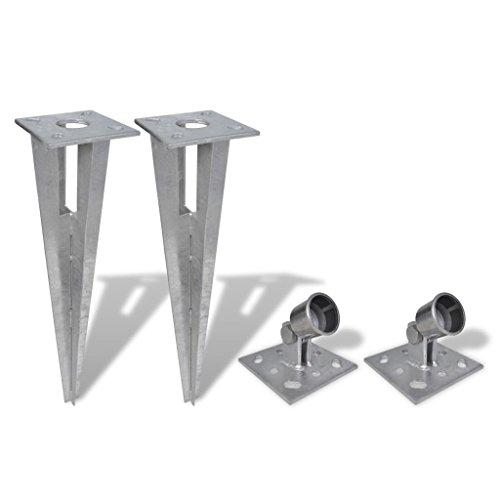 vidaXL 2x Einschlaghülse Zaunpfosten Pfostenträger Bodenhülse Strebenplatte