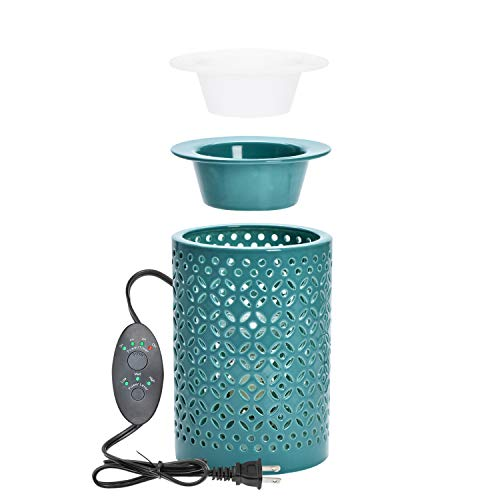 """ASAWASA Hollow Ceramic Electric Wax Warmer with Timer,Use Wax Melts Cubes Essential Oils and Fragrance Oils,Gifts for Aromatherapy Spa Home Office 4.06""""x4.06""""x5.98"""" (Long Cyan)"""