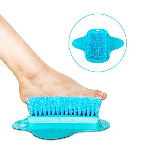 Fußbürste Badezimmer, YLX Fußbürste Scrubber Reiniger Bad Massagegerät Unterlegscheiben für die Duschfuß (Blau)