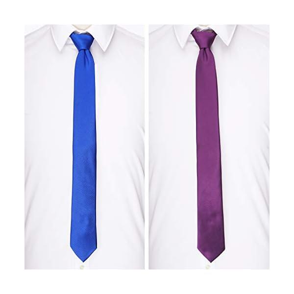 AVANTMEN Mens Slim Tie 2.4 Inches Ties Set 1&6 Pack Wholesale Solid 6 cm Skinny Neckties for Men