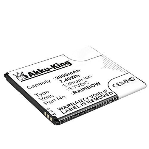 Akku-King Akku kompatibel mit Wiko Rainbow - Li-Ion 2000mAh - für Barry, Bloom, Cink Five, Darknight, Rainbow, Rainbow Lite, Rainbow Neongelb, Stairway