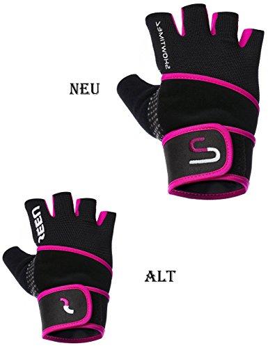 Showtime Damen Fitnesshandschuhe Handgelenkstütze Grips für Training – Schwarz/Lila – M - 2