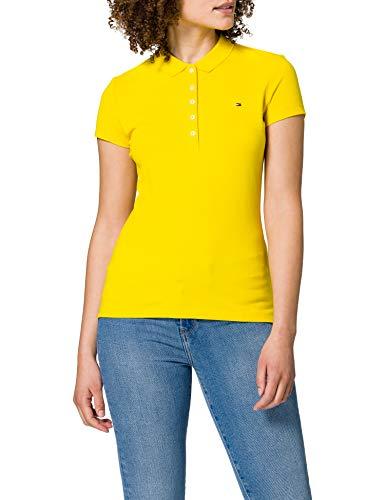 Tommy Hilfiger Short Sleeve Slim Polo Camiseta sin Mangas para bebés y niños pequeños, Amarillo, XXL para Mujer
