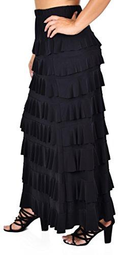 Dare2BStylish Women Waterfall 8 Tiered Boho Layered Maxi Skirt | Reg & Plus Sizes (Small, Black)