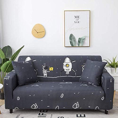 ZHBH Funda para sofá de tela elástica elástica para astronauta y espacio para sofá o sofá, fundas de poliéster y elastano estampadas, funda protectora de muebles con 1 funda de almohada